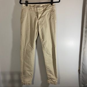 Eddie Bauer tan pants with buffalo plaid lining
